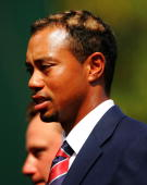 USA team member Tiger Woods on stage during the Opening Ceremonies of the 2005 Presidents Cup on September 22 2005 at Robert Trent Jones Golf Club in...