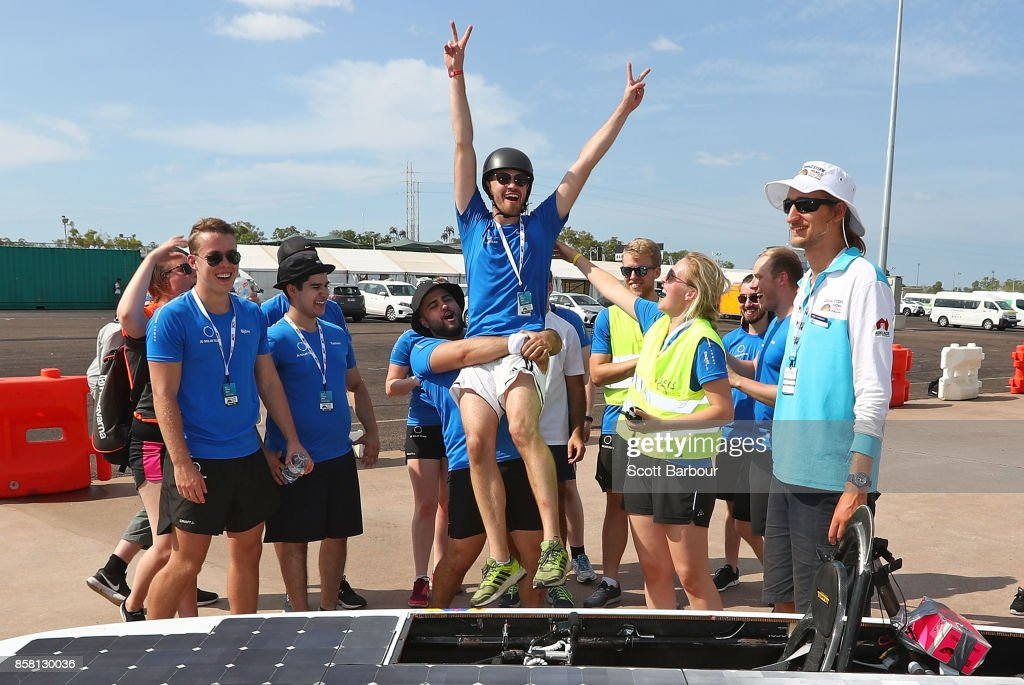 Team members congratulate the driver after Solveig, the car from Sweden's JUsolarteam and Jnkping University passes the figure 8 testing at the Hidden Valley Motor Sport Complex before competing in the Challenger class ahead of the 2017 Bridgestone World Solar Challenge on October 6, 2017 in Darwin, Australia. Teams from across the globe are competing in the 2017 World Solar Challenge - a 3000 km solar-powered vehicle race through the Australian Outback between Darwin and Adelaide. The race attracts teams from around the world, most of which are fielded by universities or corporations although some are fielded by high schools. The race has a 30-year history spanning thirteen races, with the inaugural event taking place in 1987. The race begins on October 8th with the first car expected to cross the finish line on October 11th.