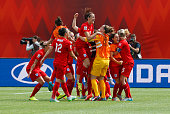 Team members from England celebrate after their goal during the FIFA Women's World Cup Canada 3rd Place Playoff match between England and Germany at...