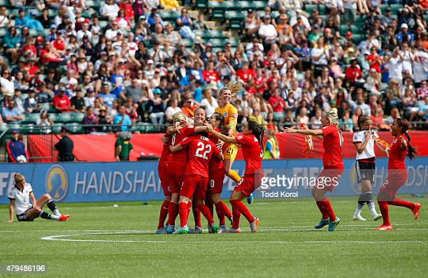 Team members from England their win over Germany during the FIFA Women's World Cup Canada 3rd Place Playoff match between England and Germany at...