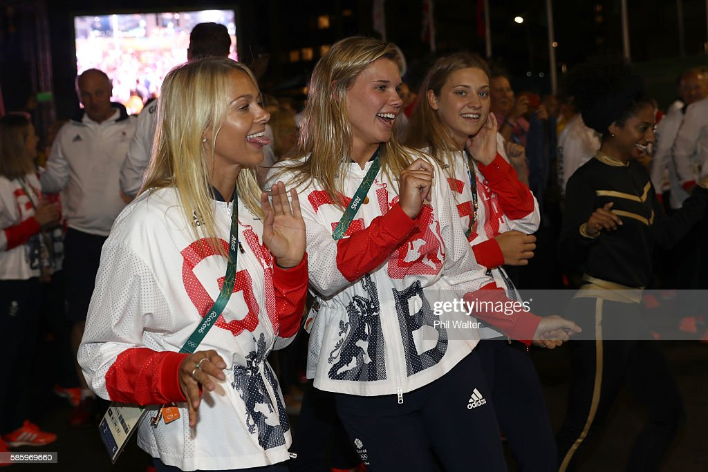 Team members from Great Britain dance during the official welcome and flag raising ceremony in the athletes village ahead of the 2016 Rio Olympic...