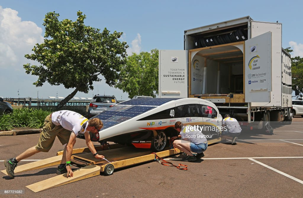 Team members load Stella Vie, the car from the Netherlands Solar Team Eindhoven into the back of their truck after it was tested during Static Scrutineering before competing in the Cruiser class ahead of the 2017 Bridgestone World Solar Challenge on October 5, 2017 in Darwin, Australia. Teams from across the globe are competing in the 2017 World Solar Challenge - a 3000 km solar-powered vehicle race through the Australian Outback between Darwin and Adelaide. The race attracts teams from around the world, most of which are fielded by universities or corporations although some are fielded by high schools. The race has a 30-year history spanning thirteen races, with the inaugural event taking place in 1987. The race begins on October 8th with the first car expected to cross the finish line on October 11th.