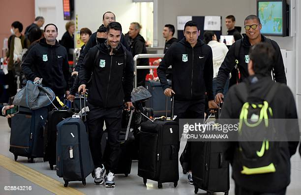 Team members of Colombian football club Atletico Nacional arrive at Kansai Airport in Izumisano Osaka prefecture to play in the Club World Cup...