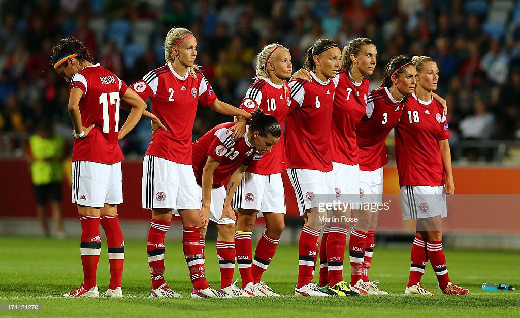 Team members of Denmark look dejected after losing the UEFA Women's Euro 2013 semi final match between Norway and Denmark at Nya Parken on July 25, 2013 in Norrkoping, Sweden.
