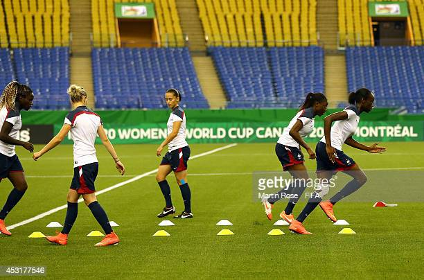 Team members of France in action during the France U20 Women's national team training at Olympic stadium on August 4 2014 in Montreal Canada