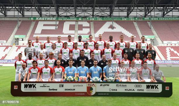 Team members of German first division Bundesliga football club FC Augsburg pose for a team picture on July 17 2017 in Augsburg southern Germany...