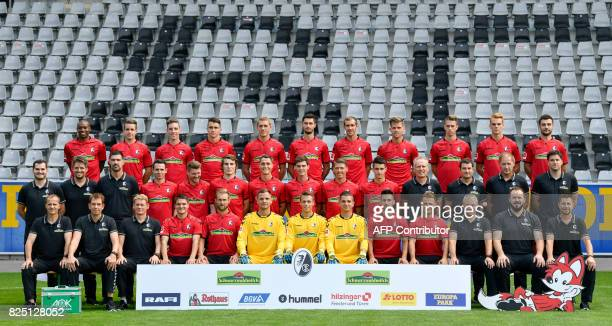Team members of German first division Bundesliga football club SC Freiburg pose during a team presentation of in Freiburg southwestern Germany on...