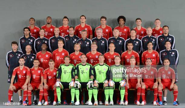 Team members of German first division Bundesliga football team FC Bayern Munich pose during a team photo call in Munich southern Germany on July 30...