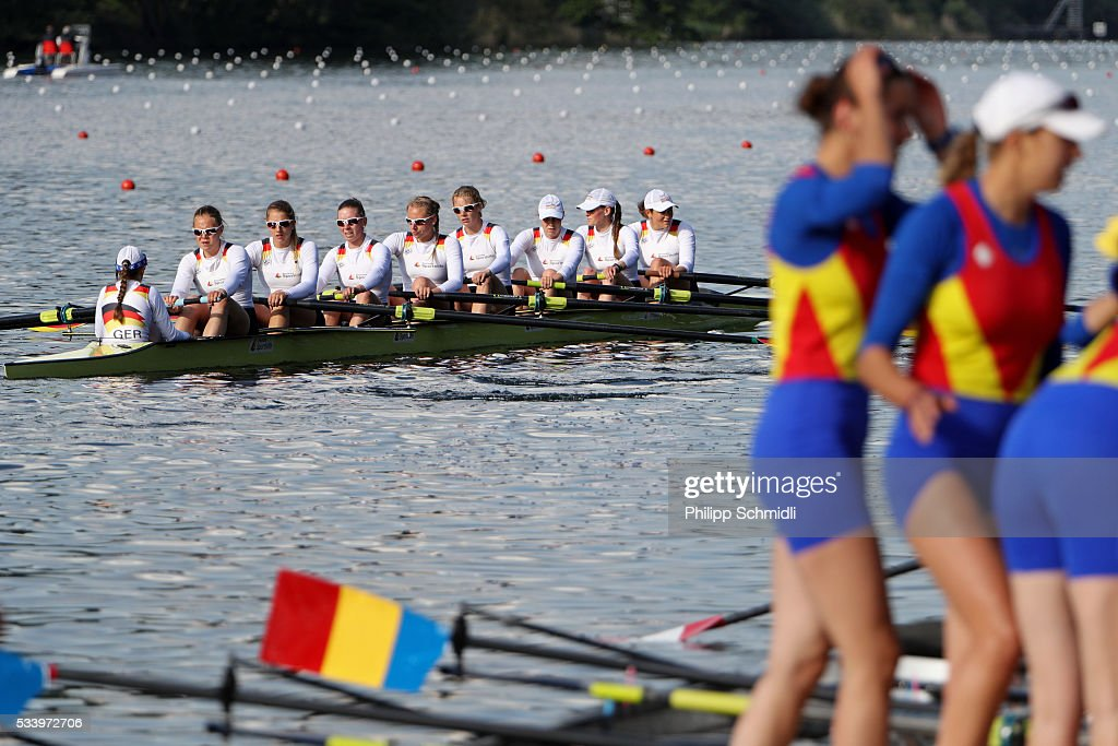 Team members of Germanys Women's Eight look dejected after missing the qualification for the 2016 Summer Olympic Games in Rio during Day 3 of the 2016 FISA European And Final Olympic Qualification Regatta at Rotsee on May 24, 2016 in Lucerne, Switzerland.
