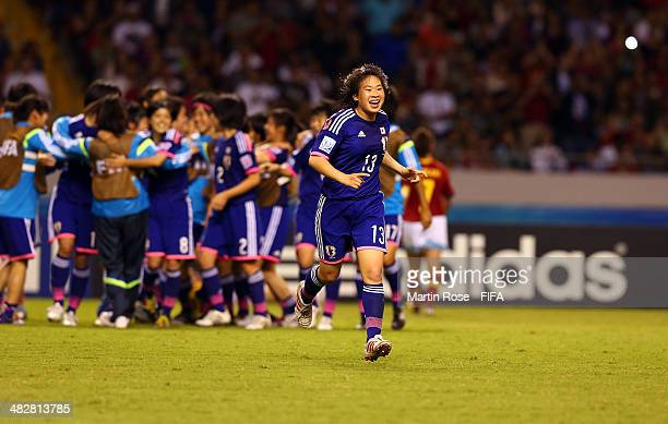 Team members of Japan celebrate after the FIFA U17 Women's World Cup 2014 final match between Japan and Spain at Estadio Nacional on April 4 2014 in...