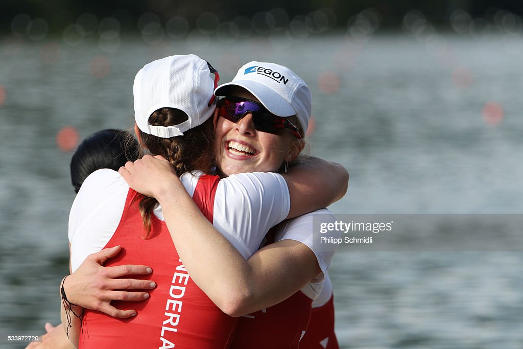 Team members of Netherlands Women's Eight celebrate after qualifying for the 2016 Summer Olympic Games in Rio during Day 3 of the 2016 FISA European And Final Olympic Qualification Regatta at Rotsee on May 24, 2016 in Lucerne, Switzerland.