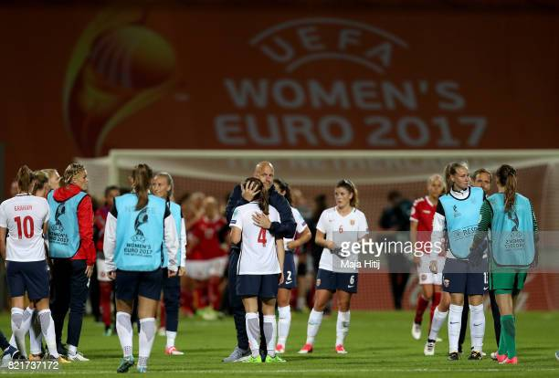 Team members of Norway look dejected after the Group A match between Norway and Denmark during the UEFA Women's Euro 2017 at Stadion De Adelaarshorst...