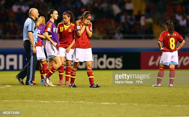Team members of Spain look dejected after the FIFA U17 Women's World Cup 2014 final match between Japan and Spain at Estadio Nacional on April 4 2014...