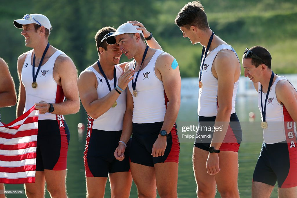 Team members of the United States of America Men's Eight celebrate after qualifying for the 2016 Summer Olympic Games in Rio during Day 3 of the 2016 FISA European And Final Olympic Qualification Regatta at Rotsee on May 24, 2016 in Lucerne, Switzerland.