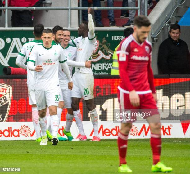 Team members of Werder Bremen celebrate their goal during the Bundesliga match between FC Ingolstadt 04 and Werder Bremen at Audi Sportpark on April...