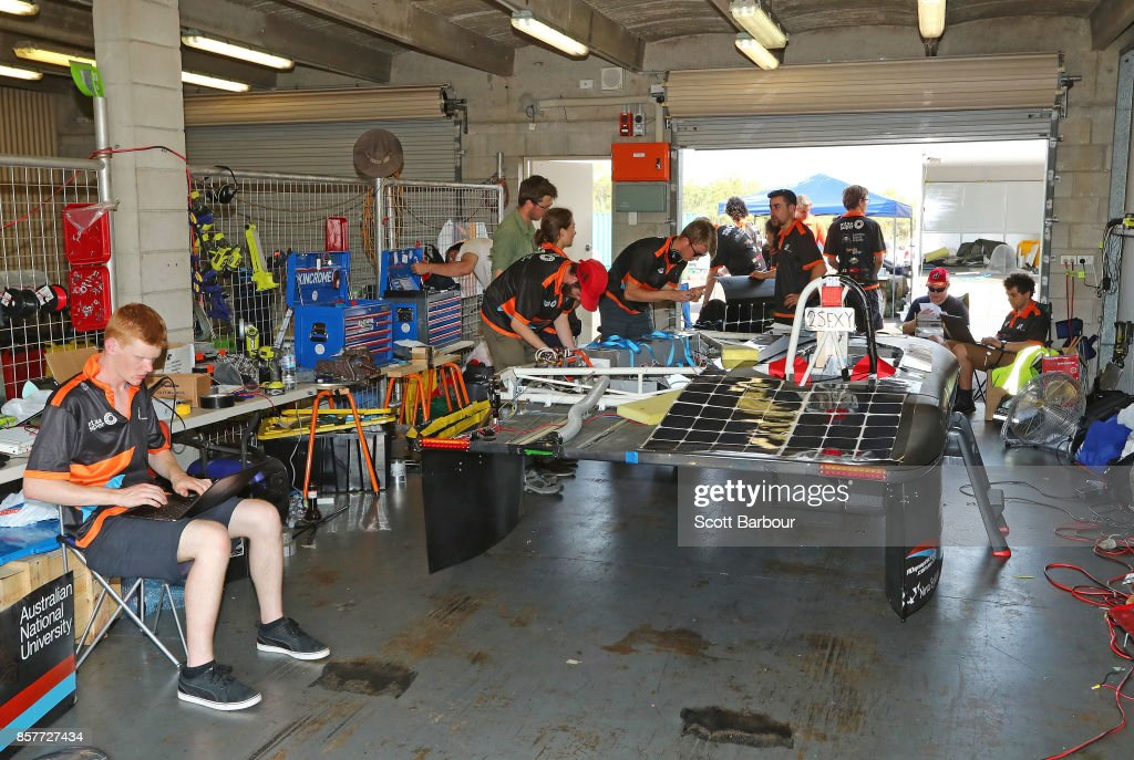 Team members prepare in their pit garage before MTAA Super Charge, the car from Australia's MTAA Super Sol Invictus is tested on track at the Hidden Valley Motor Sport Complex before competing in the Challenger class ahead of the 2017 Bridgestone World Solar Challenge on October 5, 2017 in Darwin, Australia. Teams from across the globe are competing in the 2017 World Solar Challenge - a 3000 km solar-powered vehicle race through the Australian Outback between Darwin and Adelaide. The race attracts teams from around the world, most of which are fielded by universities or corporations although some are fielded by high schools. The race has a 30-year history spanning thirteen races, with the inaugural event taking place in 1987. The race begins on October 8th with the first car expected to cross the finish line on October 11th.