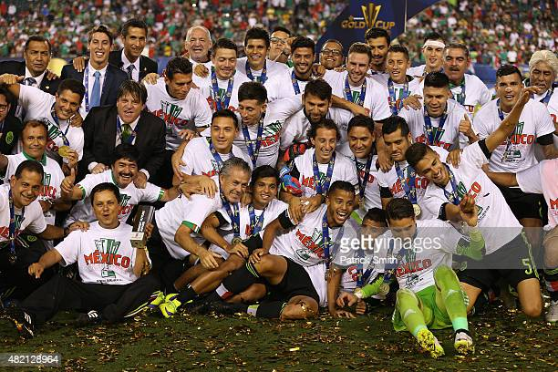 Team Mexico celebrates after defeating Jamaica in the CONCACAF Gold Cup Final at Lincoln Financial Field on July 26 2015 in Philadelphia Pennsylvania...