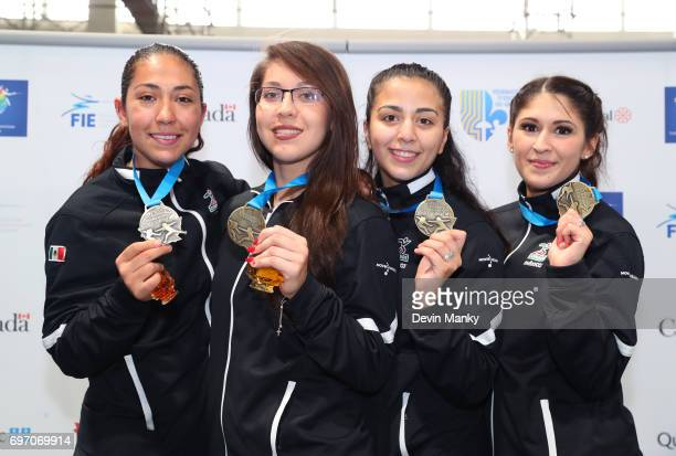 Team Mexico display their gold medals won during the Team Women's Sabre event on June 17 2017 at the PanAmerican Fencing Championships at Centre...