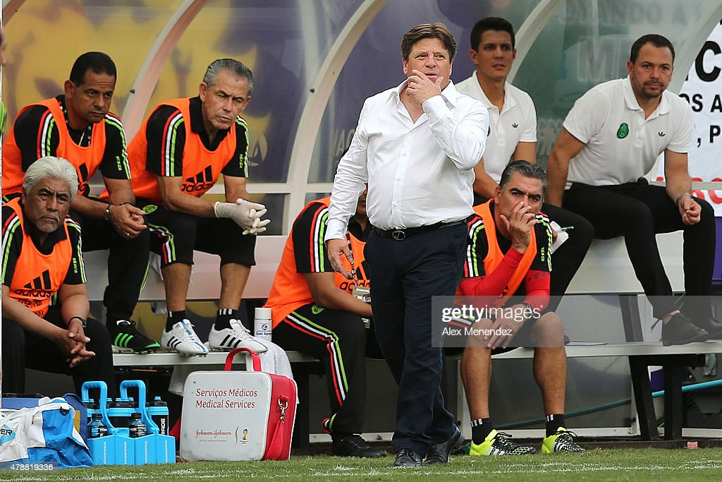 Team Mexico head coach <a gi-track='captionPersonalityLinkClicked' href=/galleries/search?phrase=Miguel+Herrera+-+Soccer+Coach&family=editorial&specificpeople=12319687 ng-click='$event.stopPropagation()'>Miguel Herrera</a> is seen on the sidelines during an international friendly soccer match between Mexico and Costa Rica at the Orlando Citrus Bowl on June 27, 2015 in Orlando, Florida. The game ended in a 2-2 draw.