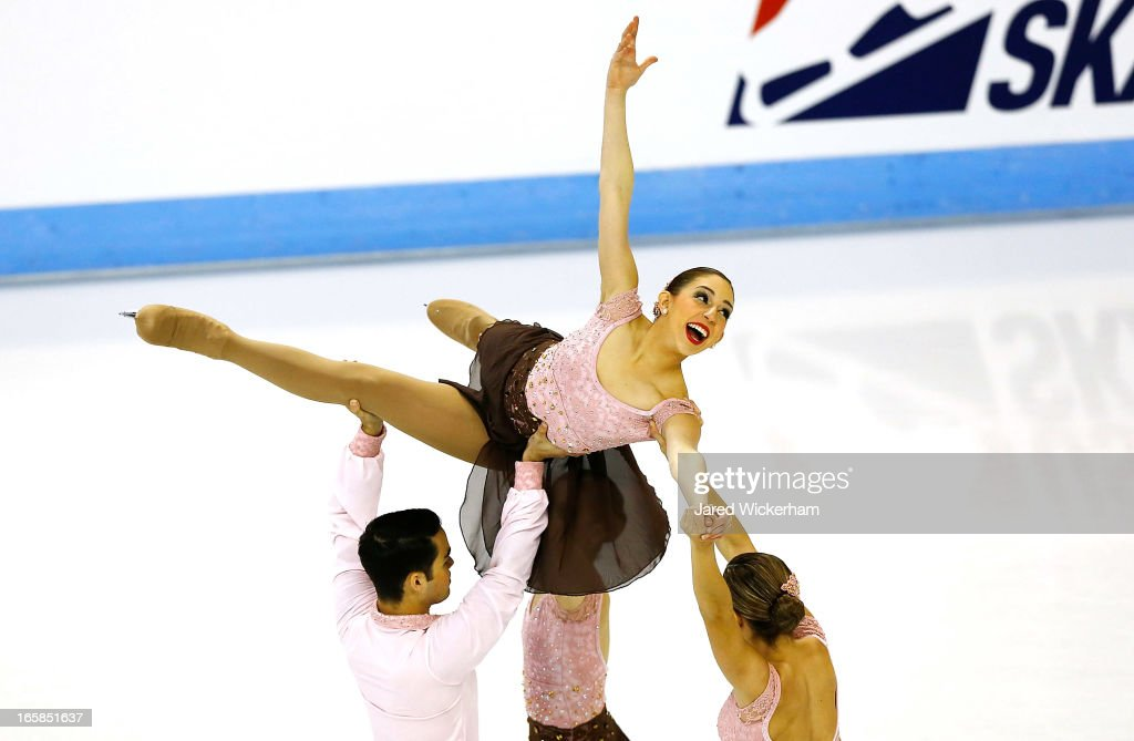 Team Mexico performs during the free skating competition of the ISU World Synchronized Skating Championships at Agganis Arena on April 6, 2013 in Boston, Massachusetts.