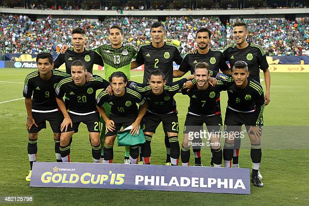 Team Mexico pose for a team photo before plaing Jamaica in the CONCACAF Gold Cup Final at Lincoln Financial Field on July 26 2015 in Philadelphia...