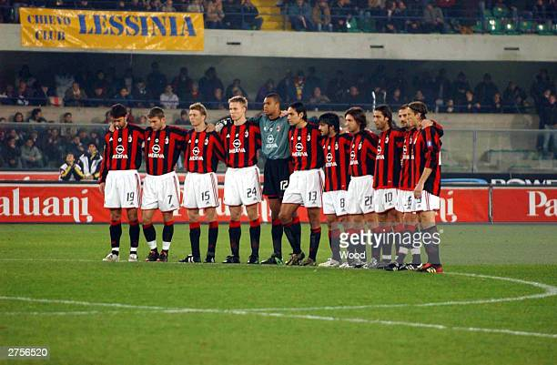 Team Milan observes a minute of silence for Italian victims of the war in Iraq before the Series A 10th Round League match between Chievo and Milan...