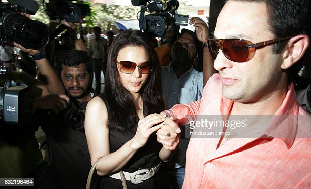 Team Mohali's owner Priety Zinta and Ness Wadia arrives for a meeting with IPL franchise owners in Mumbai at BCCI on Sunday