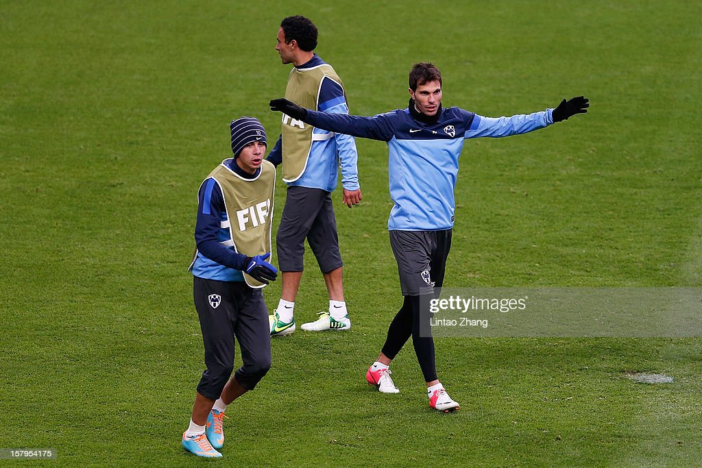 Team Monterrey captain Jose Maria Basanta (R) gestures during CF Monterrey training session at Toyota Stadium on December 8, 2012 in Toyota, Japan.