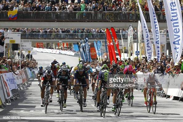Team Movistar's Spanish Alejandro Valverde crosses the finish line winning the last stage of the Tour of Catalonia cycling race a 1266 km circuit...