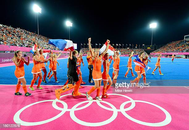 Team Netherlands celebrate their 20 victory over team Argentina after the Women's Hockey gold medal match on Day 14 of the London 2012 Olympic Games...