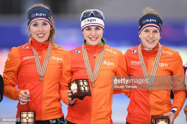 Team Netherlands celebrate with their medals for the ladies team pursuit during the ISU World Single Distances Speed Skating Championships Gangneung...