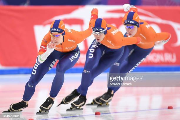 Team Netherlands compete in the ladies team pursuit during the ISU World Single Distances Speed Skating Championships Gangneung Test Event For...