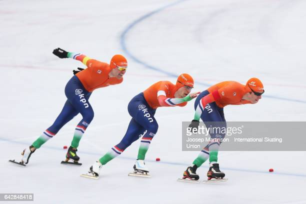 Team Netherlands compete in the men's team pursuit during day three of the World Junior Speed Skating Championships at Oulunkyla Sports Park on...