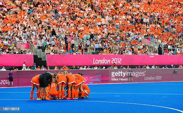 Team Netherlands huddle before playing against team Argentina during the Women's Hockey gold medal match on Day 14 of the London 2012 Olympic Games...