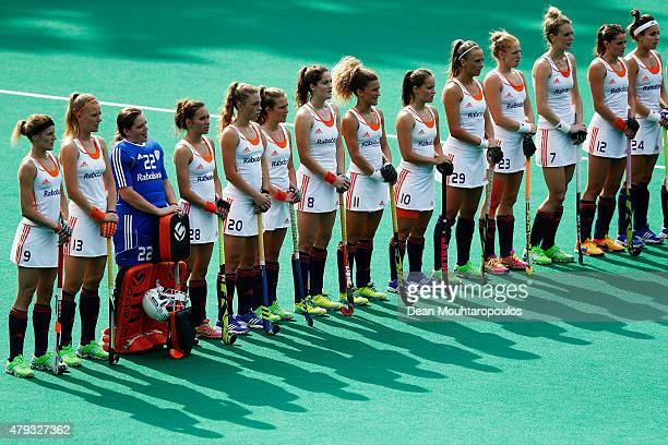 Team Netherlands line up prior to the Fintro Hockey World League SemiFinal match between Netherlands and Australia held at KHC Dragons Gemeentepark...