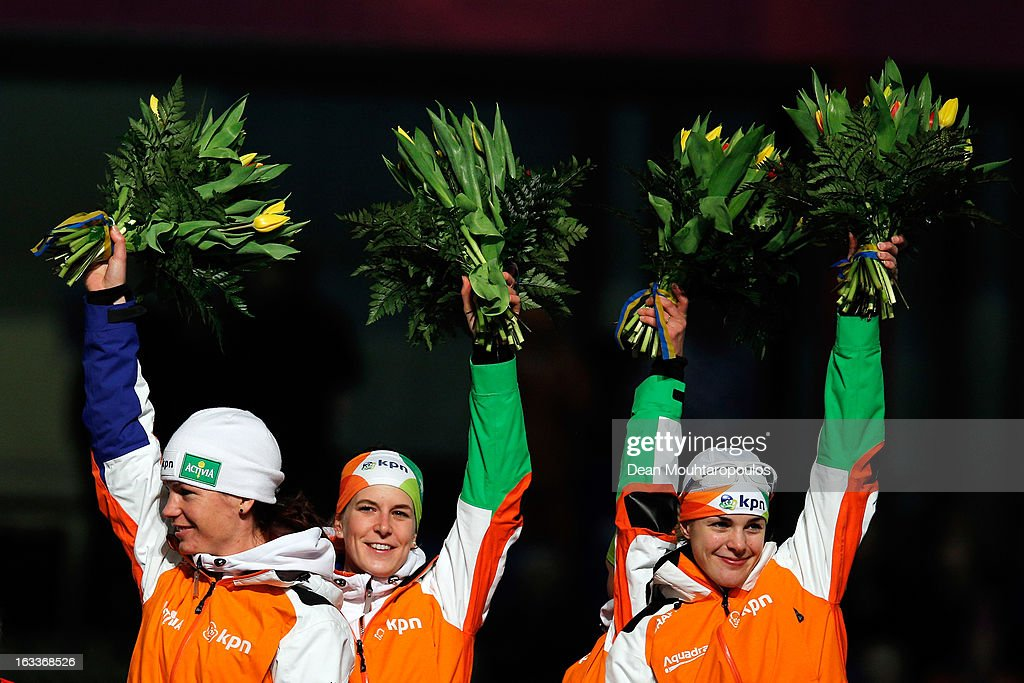 Team Netherlands made of Ireen Wust, Marrit Leenstra, Diane Valkenburg and Linda de Vries celebrate after they win the Team Pursuit Womens World Cup during Day 1 of the Essent ISU World Cup Speed Skating Championships 2013 at Thialf Stadium on March 8, 2013 in Heerenveen, Netherlands.