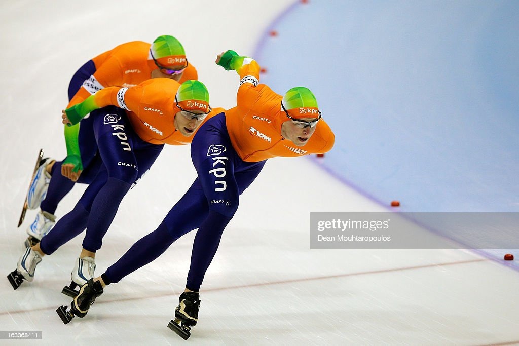 Team Netherlands made of <a gi-track='captionPersonalityLinkClicked' href=/galleries/search?phrase=Sven+Kramer&family=editorial&specificpeople=769363 ng-click='$event.stopPropagation()'>Sven Kramer</a>, Jan Blokhuijsen and Koen Verweij compete in the Team Pursuit mensduring Day 1 of the Essent ISU World Cup Speed Skating Championships 2013 at Thialf Stadium on March 8, 2013 in Heerenveen, Netherlands.