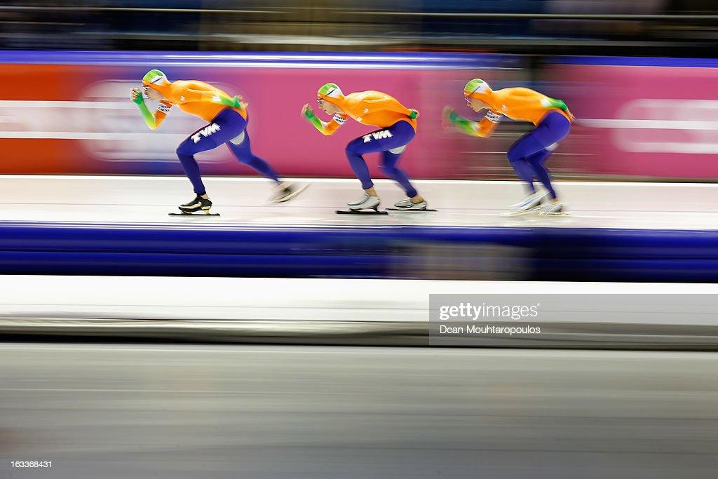 Team Netherlands made of Sven Kramer, Jan Blokhuijsen and Koen Verweij compete in the Team Pursuit mensduring Day 1 of the Essent ISU World Cup Speed Skating Championships 2013 at Thialf Stadium on March 8, 2013 in Heerenveen, Netherlands.