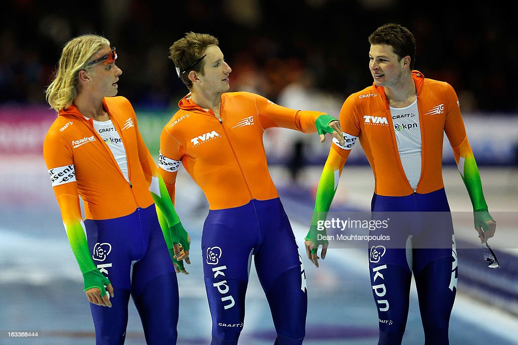 Team Netherlands made of Sven Kramer, Jan Blokhuijsen and Koen Verweij celebrate after they compete in the Team Pursuit mens during Day 1 of the Essent ISU World Cup Speed Skating Championships 2013 at Thialf Stadium on March 8, 2013 in Heerenveen, Netherlands.
