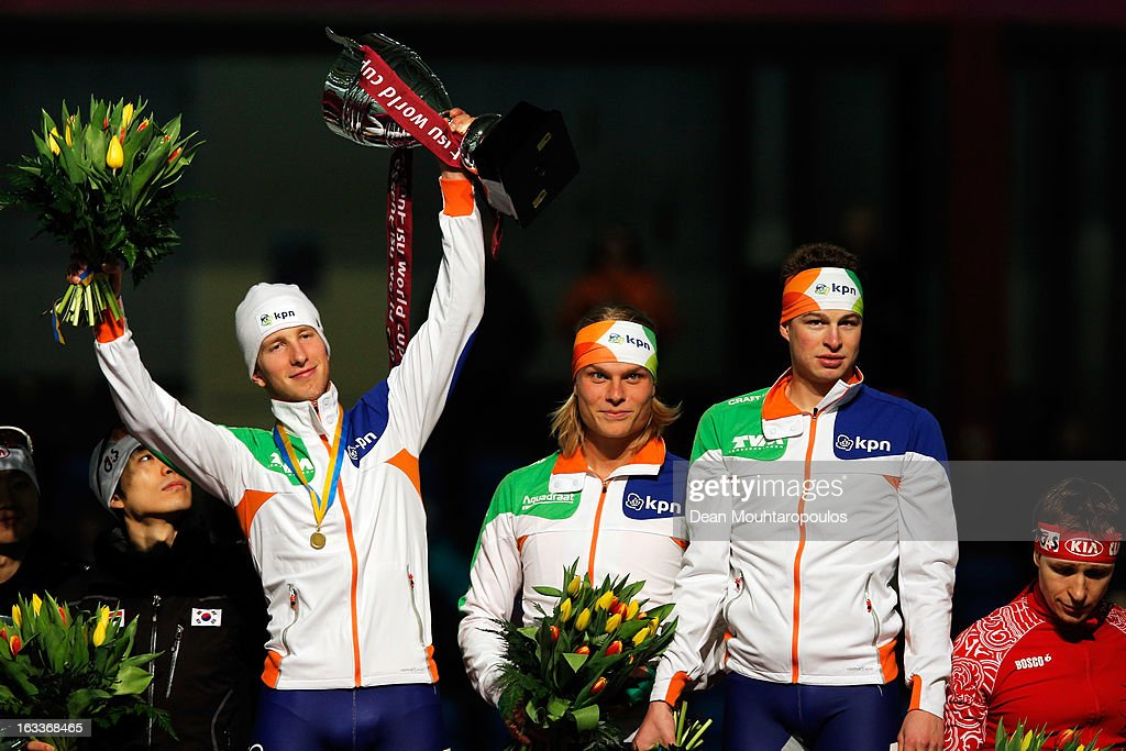 Team Netherlands made of Sven Kramer, Jan Blokhuijsen and Koen Verweij celebrate after they win the Team Pursuit mens World Cup during Day 1 of the Essent ISU World Cup Speed Skating Championships 2013 at Thialf Stadium on March 8, 2013 in Heerenveen, Netherlands.