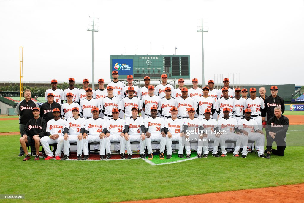 Team Netherlands poses for a team photo before Pool B, Game 2 between Team Korea and Team Netherlands during the first round of the 2013 World Baseball Classic at Taichung Intercontinental Baseball Stadium on Saturday, March 2, 2013 in Taichung, Taiwan.