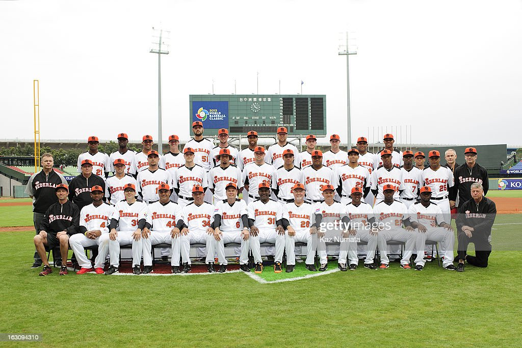 Team Netherlands poses for a team photos before the Pool B, Game 2 between Team Korea and Team Netherlands during the first round of the 2013 World Baseball Classic at Taichung Intercontinental Baseball Stadium on March 2, 2013 in Taichung, Taiwan.