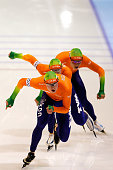Team Netherlands with Jan Blokhuijsen Sven Krammer and Koen Verweij compete and win the Team Pursuit Men on day two of the Essent ISU World Cup Speed...