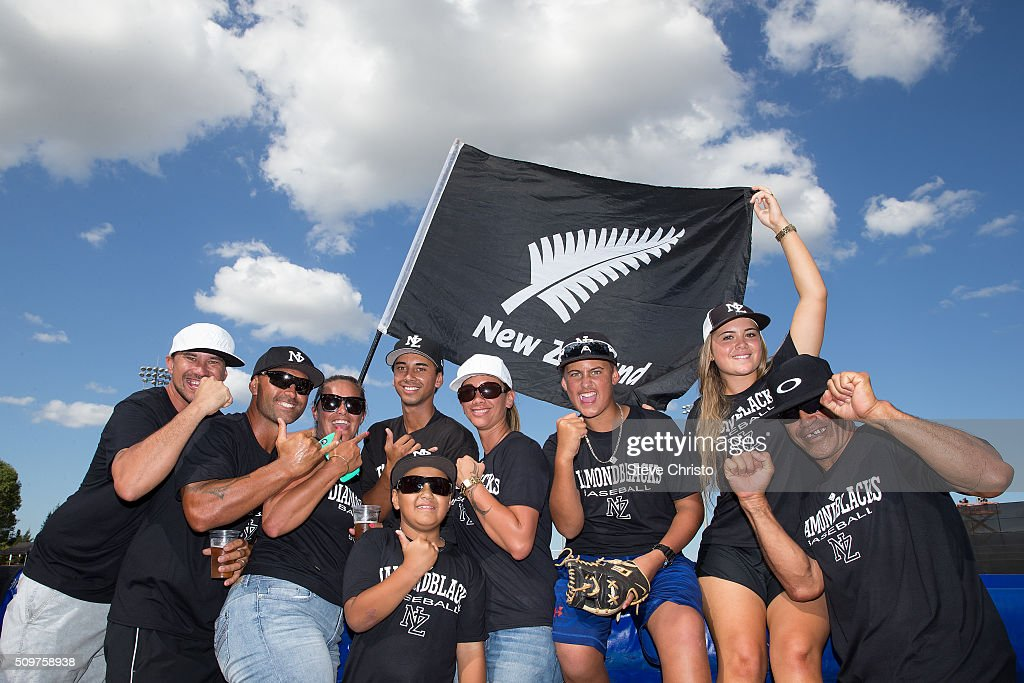 Team New Zealand fans are seen cheering during Game 3 of the World Baseball Classic Qualifier between Team Philippines and Team New Zealand at Blacktown International Sportspark on Friday, February 12, 2016 in Sydney, Australia.