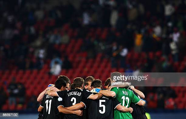 Team New Zealand gathers together ahead to the FIFA Confederations Cup match between Iraq and New Zealand at Ellis Park Stadium on June 20 2009 in...