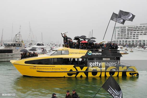 Team New Zealand make their way out of the Viaduct Basin to a huge reception from the waiting flotilla during the Team New Zealand Americas Cup...