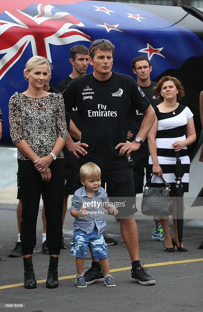 Team New Zealand skipper <a gi-track='captionPersonalityLinkClicked' href=/galleries/search?phrase=Dean+Barker&family=editorial&specificpeople=636929 ng-click='$event.stopPropagation()'>Dean Barker</a> and his wife Mandy look on during the launch of the Emirates Team New Zealand boat at the Viaduct Harbour on February 4, 2013 in Auckland, New Zealand.