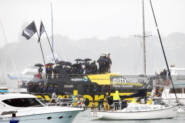 Team New Zealand take to the water during the Team New Zealand Americas Cup Welcome Home Parade on July 6 2017 in Auckland New Zealand