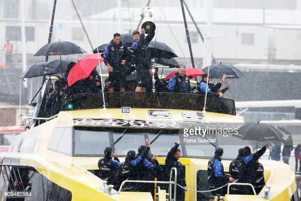 Team New Zealand take to the water in the Viadusct Basin during the Team New Zealand Americas Cup Welcome Home Parade on July 6 2017 in Auckland New...