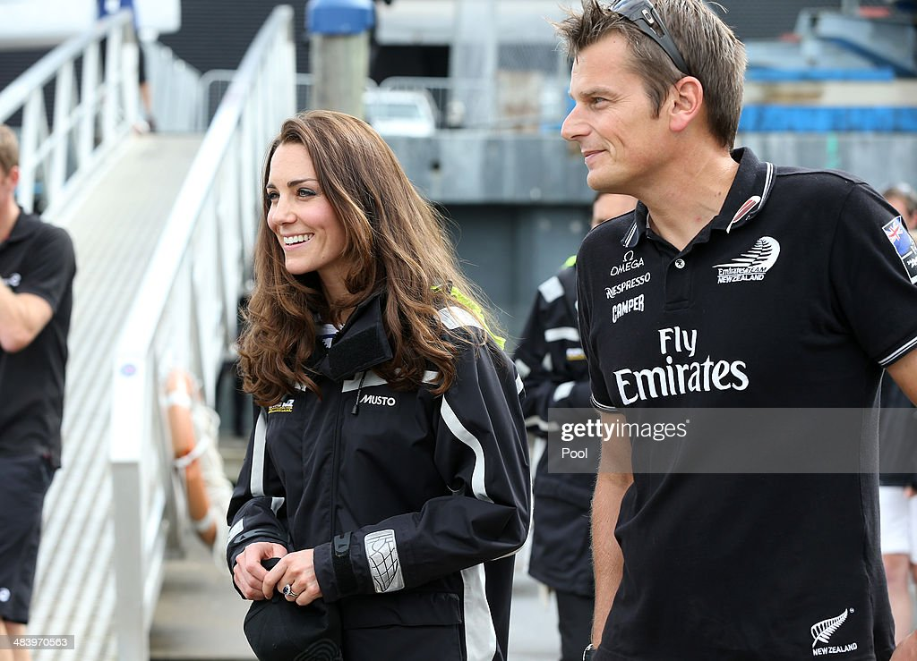 Team New Zealand's Dean Barker and Catherine Duchess of Cambridge at the Viaduct Basin on April 11 2014 in Auckland New Zealand The Duke and Duchess...